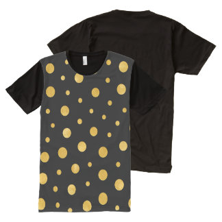 Elegant polka dots - Black Gold All-Over-Print T-Shirt