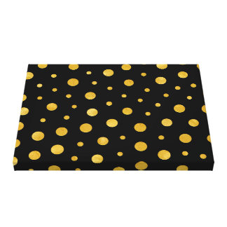 Elegant polka dots - Black Gold Canvas Print