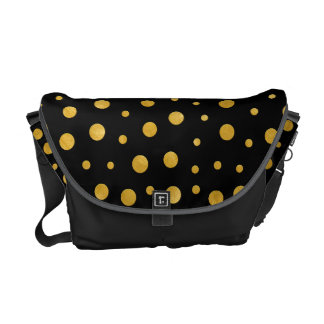 Elegant polka dots - Black Gold Courier Bag