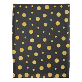 Elegant polka dots - Black Gold Duvet Cover