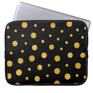 Elegant polka dots - Black Gold Laptop Sleeve