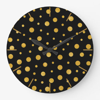 Elegant polka dots - Black Gold Large Clock
