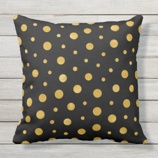 Elegant polka dots - Black Gold Outdoor Pillow