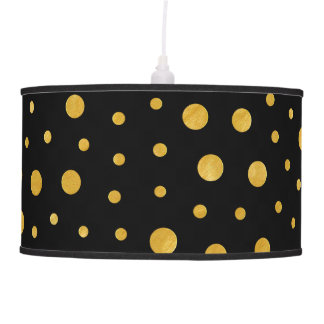 Elegant polka dots - Black Gold Pendant Lamp