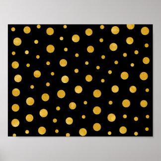 Elegant polka dots - Black Gold Poster