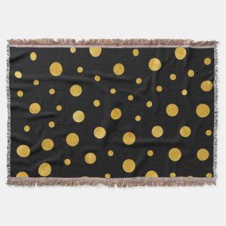 Elegant polka dots - Black Gold Throw Blanket