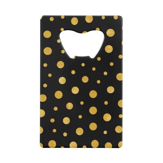 Elegant polka dots - Black Gold Wallet Bottle Opener