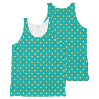 Elegant Polka Dots -Mint & Gold- All-Over-Print Tank Top