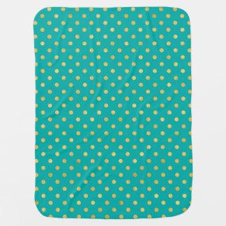 Elegant Polka Dots -Mint & Gold- Baby Blanket