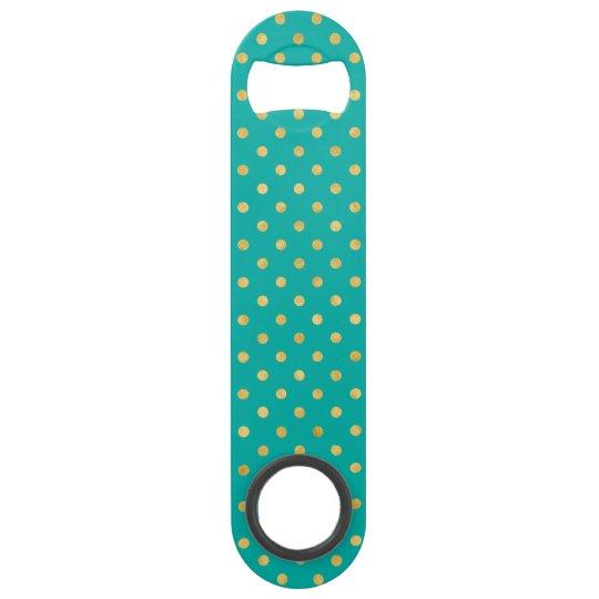 Elegant Polka Dots -Mint & Gold- Bar Key
