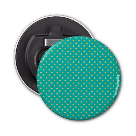 Elegant Polka Dots -Mint & Gold- Bottle Opener
