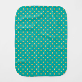 Elegant Polka Dots -Mint & Gold- Burp Cloth