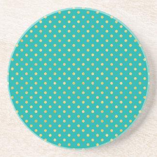 Elegant Polka Dots -Mint & Gold- Coaster
