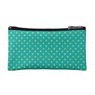 Elegant Polka Dots -Mint & Gold- Cosmetic Bag