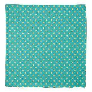 Elegant Polka Dots -Mint & Gold- Duvet Cover