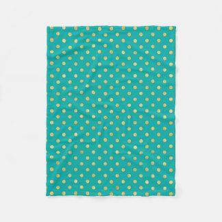 Elegant Polka Dots -Mint & Gold- Fleece Blanket