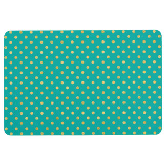 Elegant Polka Dots -Mint & Gold- Floor Mat