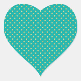 Elegant Polka Dots -Mint & Gold- Heart Sticker