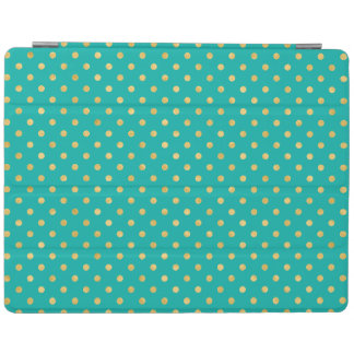 Elegant Polka Dots -Mint & Gold- iPad Cover