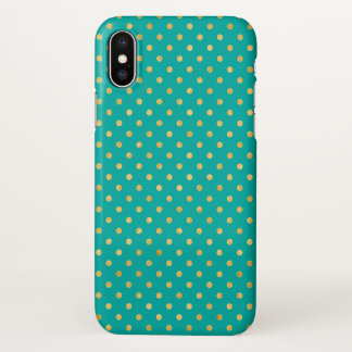 Elegant Polka Dots -Mint & Gold- iPhone X Case