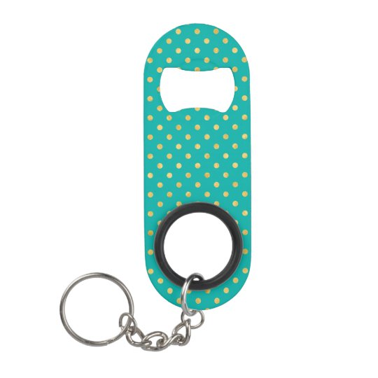 Elegant Polka Dots -Mint & Gold- Keychain Bottle Opener