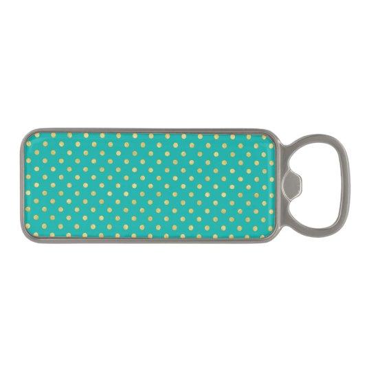 Elegant Polka Dots -Mint & Gold- Magnetic Bottle Opener