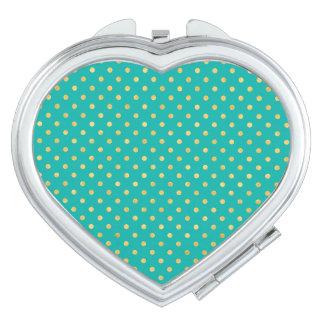 Elegant Polka Dots -Mint & Gold- Makeup Mirrors