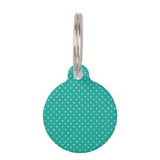 Elegant Polka Dots -Mint & Gold- Pet ID Tag