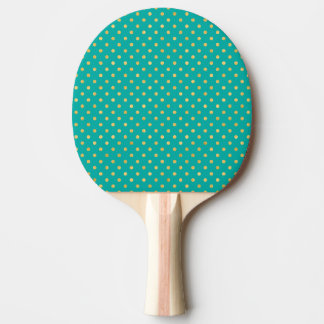 Elegant Polka Dots -Mint & Gold- Ping Pong Paddle
