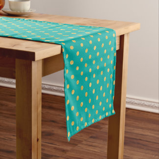 Elegant Polka Dots -Mint & Gold- Short Table Runner