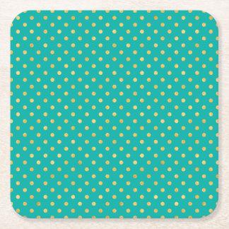 Elegant Polka Dots -Mint & Gold- Square Paper Coaster