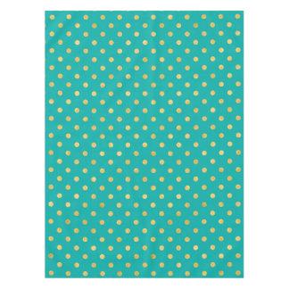Elegant Polka Dots -Mint & Gold- Tablecloth