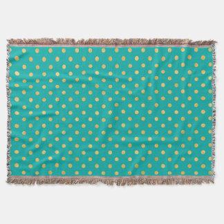 Elegant Polka Dots -Mint & Gold- Throw Blanket
