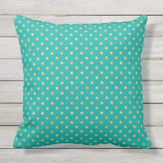 Elegant Polka Dots -Mint & Gold- Throw Pillow