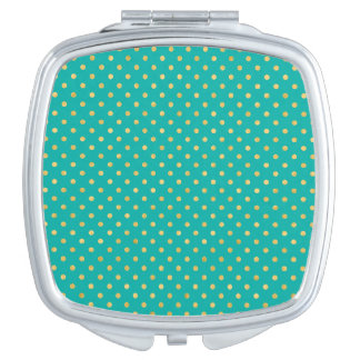 Elegant Polka Dots -Mint & Gold- Vanity Mirror