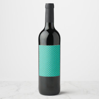 Elegant Polka Dots -Mint & Gold- Wine Label