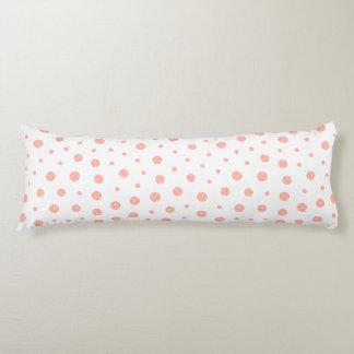 Elegant polka dots - Soft Pink Gold White Body Pillow