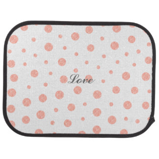 Elegant polka dots - Soft Pink Gold White Car Mat