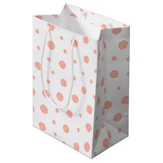 Elegant polka dots - Soft Pink Gold White Medium Gift Bag