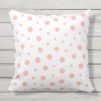 Elegant polka dots - Soft Pink Gold White Throw Pillow