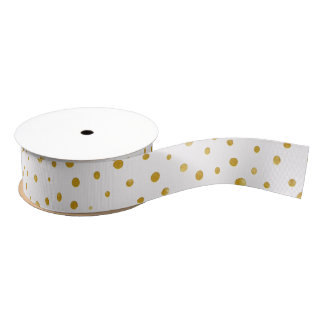 Elegant polka dots - White Gold Grosgrain Ribbon