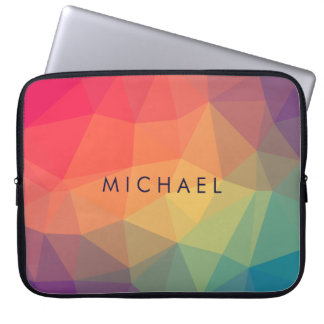 Elegant polygonal triangle colored add your name laptop sleeve