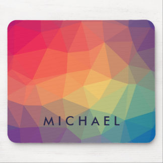 Elegant polygonal triangle colored add your name mouse pad