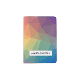 Elegant polygonal triangles colored add your name passport holder