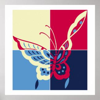 Elegant pop art butterfly square print