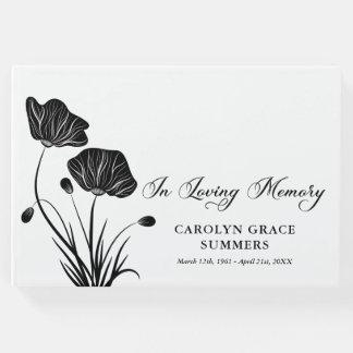 Elegant Poppies In Loving Memory Funeral Guest Book