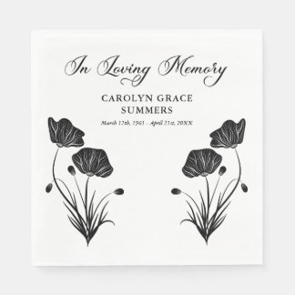 Elegant Poppies In Loving Memory Funeral Paper Napkin