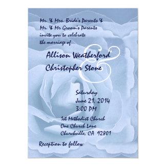 Elegant Powder Blue Rose Wedding Invitation