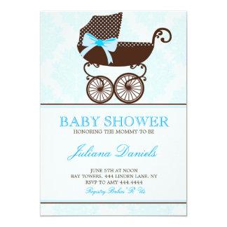 Elegant Pram Boy Baby Shower Invitations