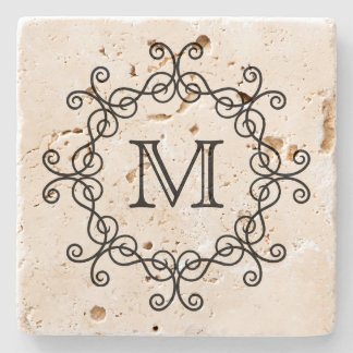 Elegant pretty monogram stone coaster
